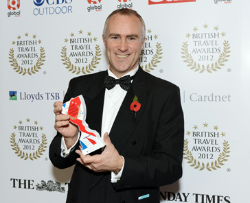 Phil receiving the award for Best Operator to Italy at the 2012 British Travel Awards